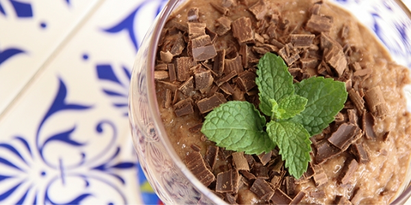 Mousse de arroz e chocolate
